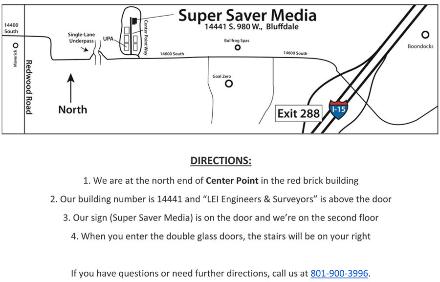 Direction Map the Super Saver Media Office